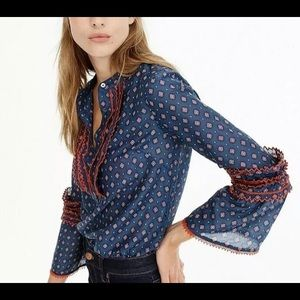 J CREW Embroidered bell-sleeve top in foulard 4